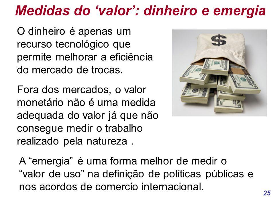 25 Medidas do 'valor': dinheiro e emergia O dinheiro é apenas um recurso tecnológico que permite melhorar a eficiência do mercado de trocas.