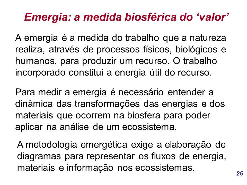 26 Emergia: a medida biosférica do 'valor' A emergia é a medida do trabalho que a natureza realiza, através de processos físicos, biológicos e humanos, para produzir um recurso.