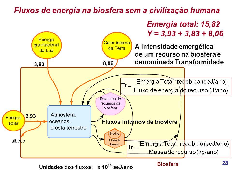 28 Fluxos de energia na biosfera sem a civilização humana Emergia total: 15,82 Y = 3,93 + 3,83 + 8,06 A intensidade emergética de um recurso na biosfera é denominada Transformidade Fluxos internos da biosfera