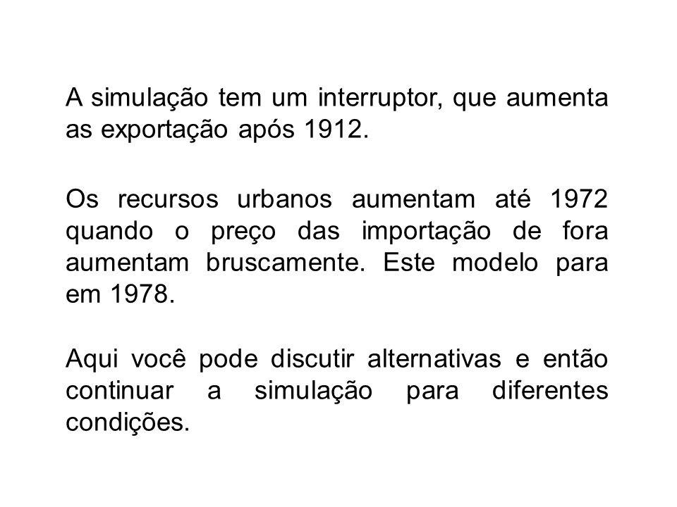 A simulação tem um interruptor, que aumenta as exportação após 1912. Os recursos urbanos aumentam até 1972 quando o preço das importação de fora aumen