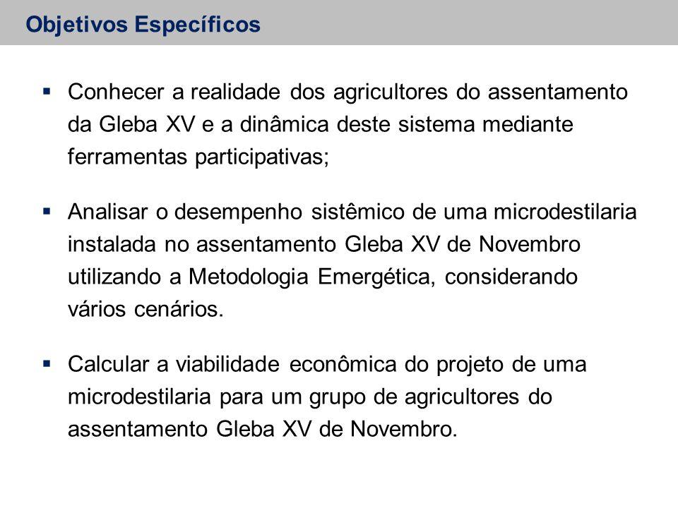 Objetivos Específicos  Conhecer a realidade dos agricultores do assentamento da Gleba XV e a dinâmica deste sistema mediante ferramentas participativ