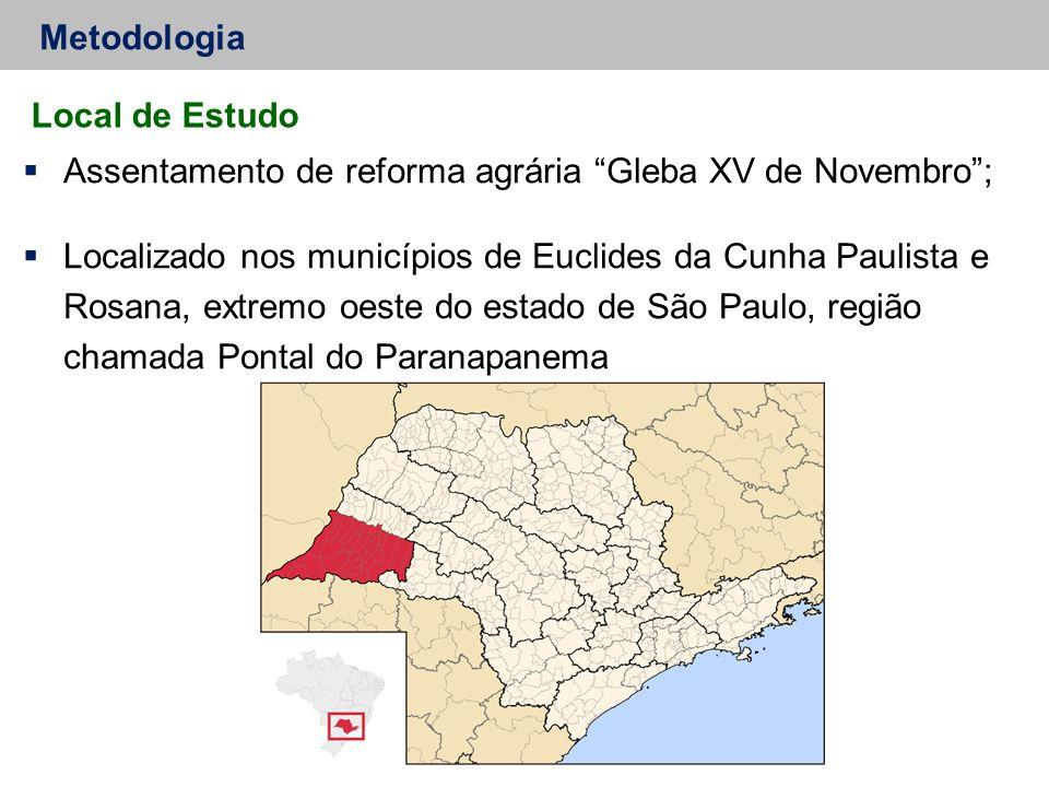 "Metodologia  Assentamento de reforma agrária ""Gleba XV de Novembro"";  Localizado nos municípios de Euclides da Cunha Paulista e Rosana, extremo oest"