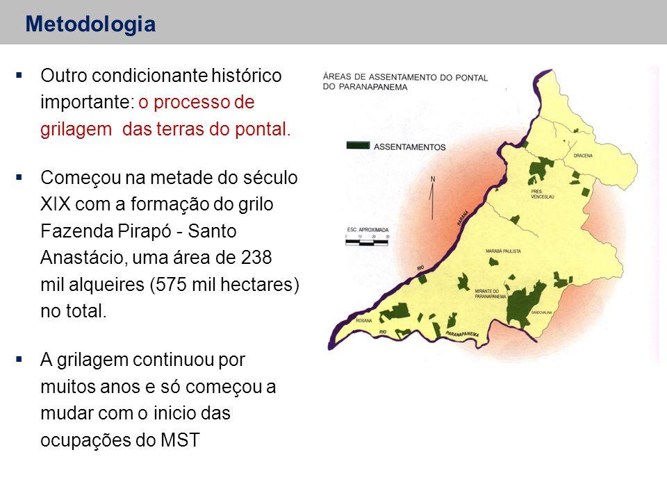 Metodologia  Outro condicionante histórico importante: o processo de grilagem das terras do pontal.  Começou na metade do século XIX com a formação