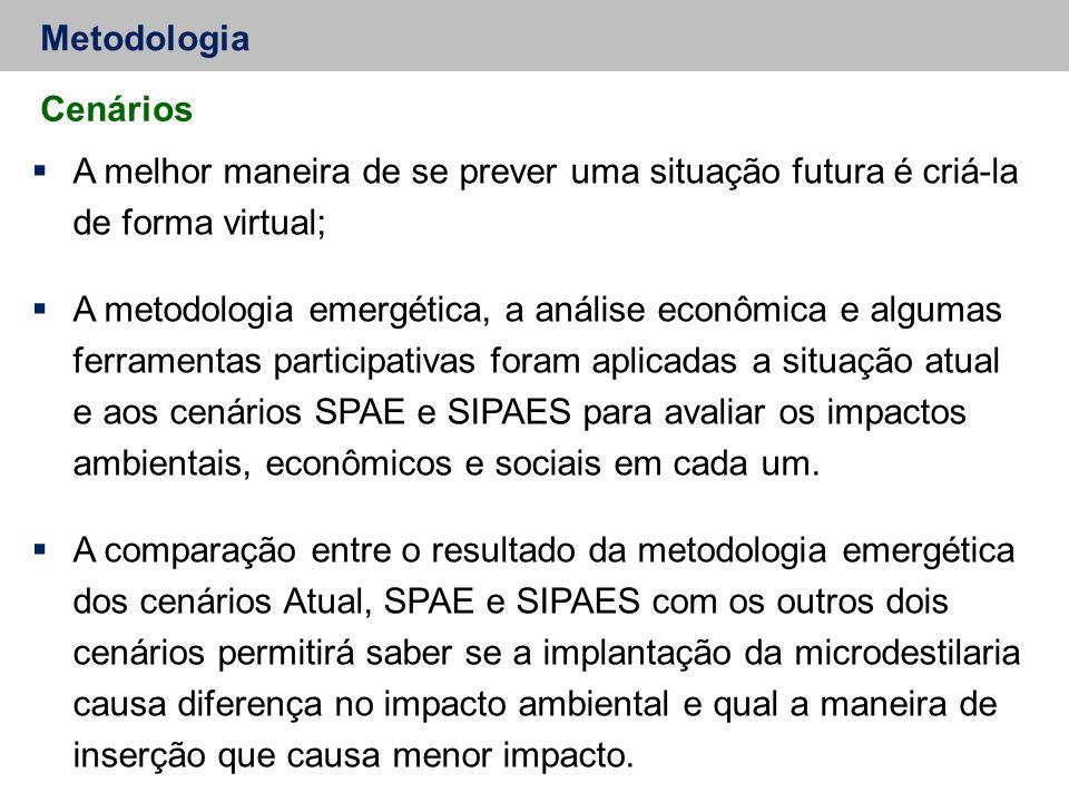 Metodologia Cenários  A melhor maneira de se prever uma situação futura é criá-la de forma virtual;  A metodologia emergética, a análise econômica e