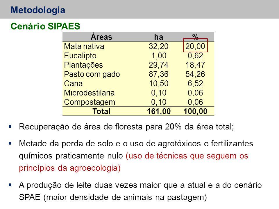 Metodologia Cenário SIPAES  Recuperação de área de floresta para 20% da área total;  Metade da perda de solo e o uso de agrotóxicos e fertilizantes