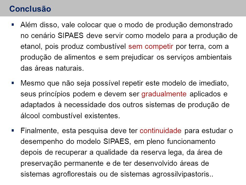 Conclusão  Além disso, vale colocar que o modo de produção demonstrado no cenário SIPAES deve servir como modelo para a produção de etanol, pois prod