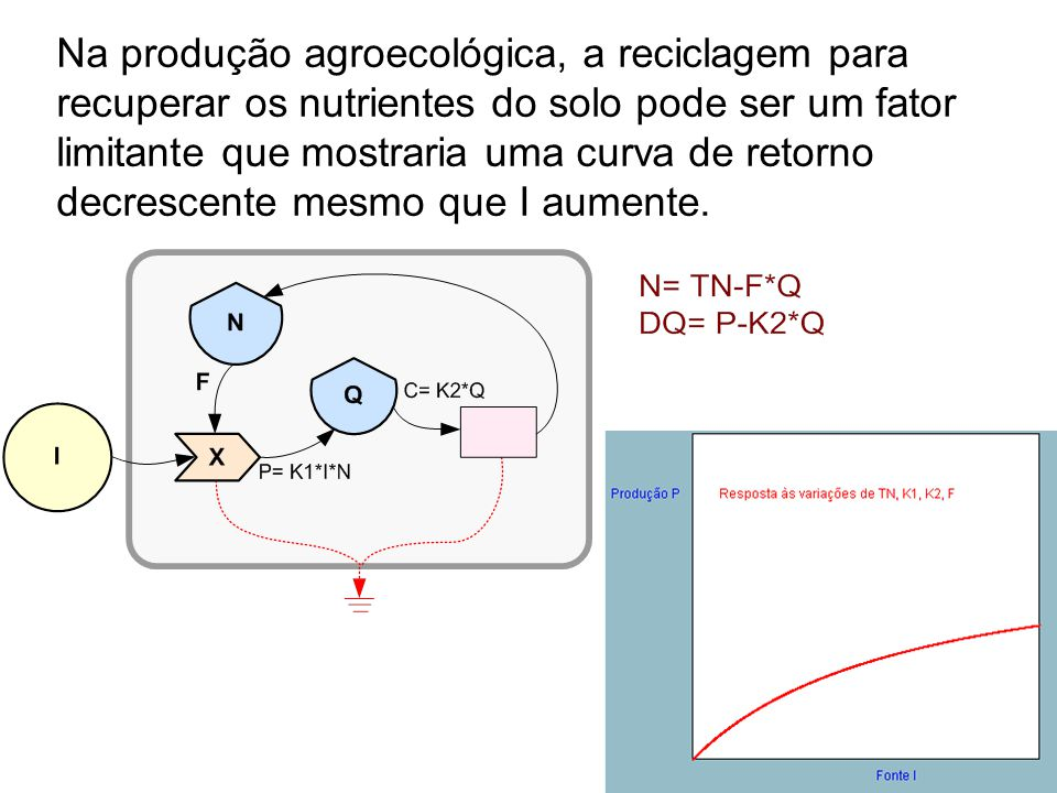 11 Na produção agroecológica, a reciclagem para recuperar os nutrientes do solo pode ser um fator limitante que mostraria uma curva de retorno decrescente mesmo que I aumente.