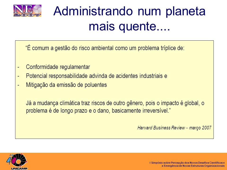 I Simpósio sobre Percepção dos Novos Desafios Científicos e a Emergência de Novas Estruturas Organizacionais Administrando num planeta mais quente....