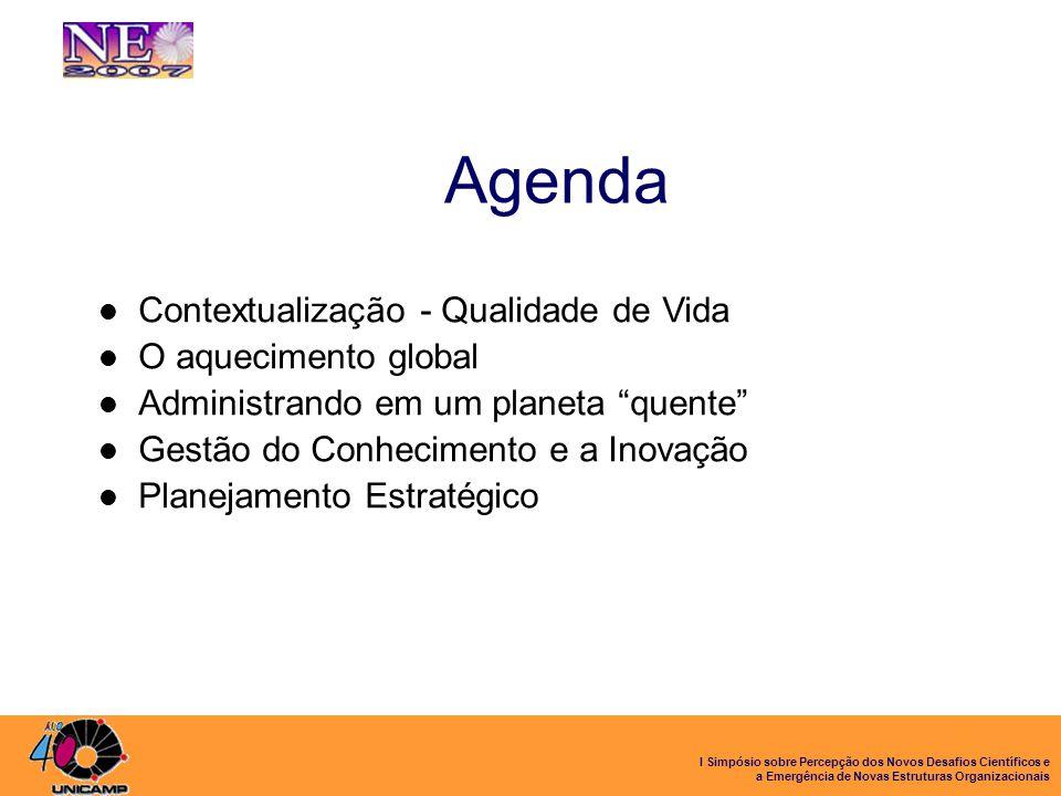 I Simpósio sobre Percepção dos Novos Desafios Científicos e a Emergência de Novas Estruturas Organizacionais Agenda Contextualização - Qualidade de Vi