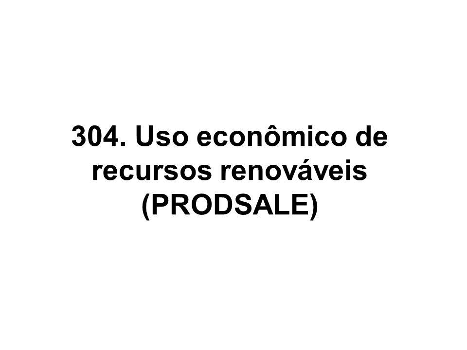 304. Uso econômico de recursos renováveis (PRODSALE)