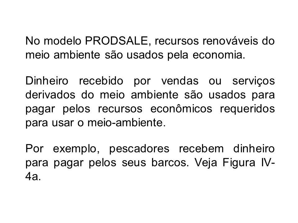 No modelo PRODSALE, recursos renováveis do meio ambiente são usados pela economia. Por exemplo, pescadores recebem dinheiro para pagar pelos seus barc