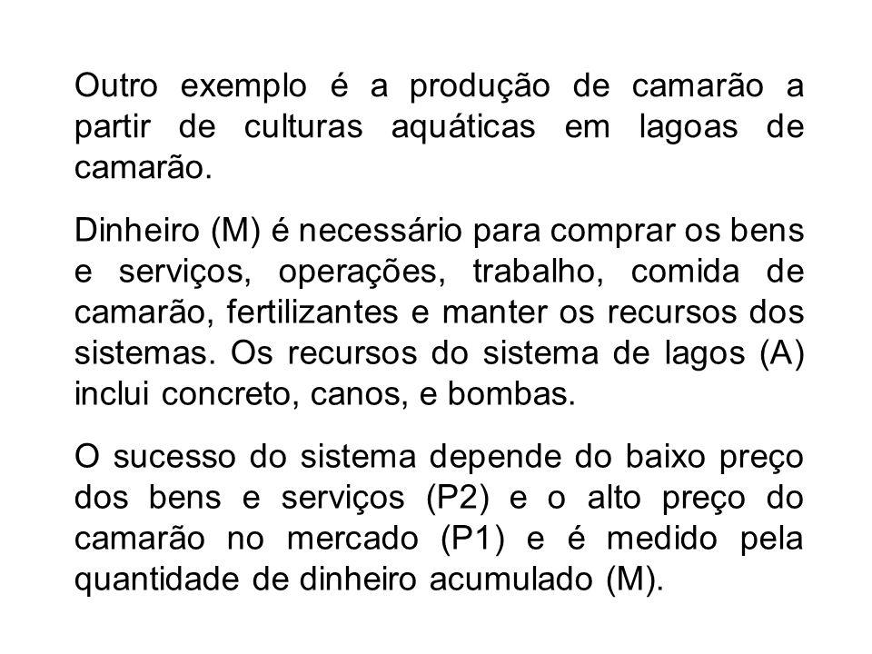 Outro exemplo é a produção de camarão a partir de culturas aquáticas em lagoas de camarão. Dinheiro (M) é necessário para comprar os bens e serviços,