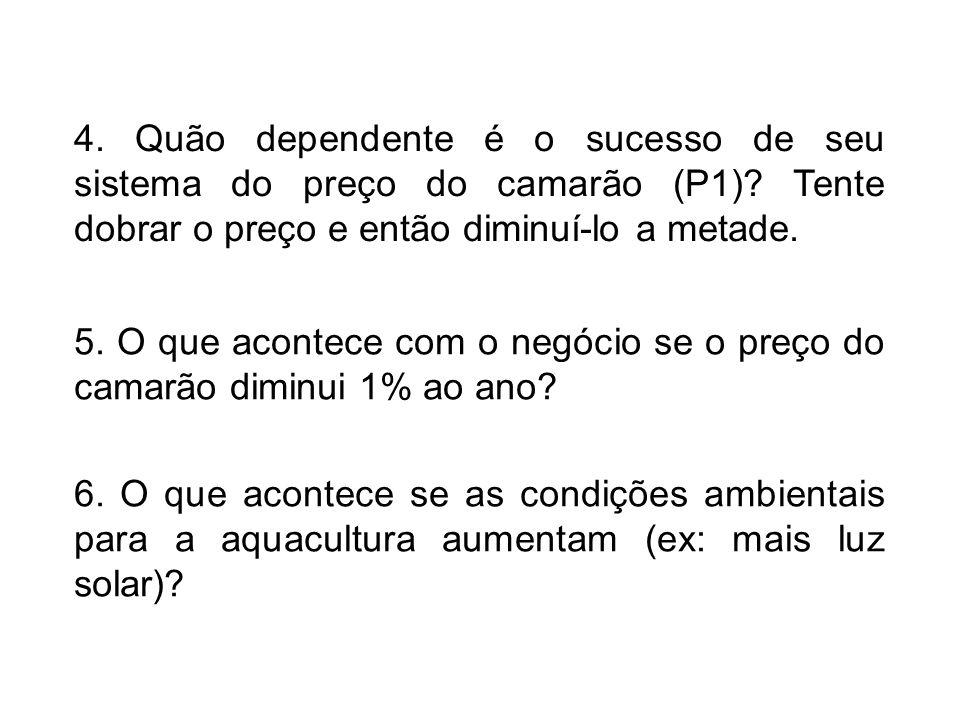 4.Quão dependente é o sucesso de seu sistema do preço do camarão (P1).