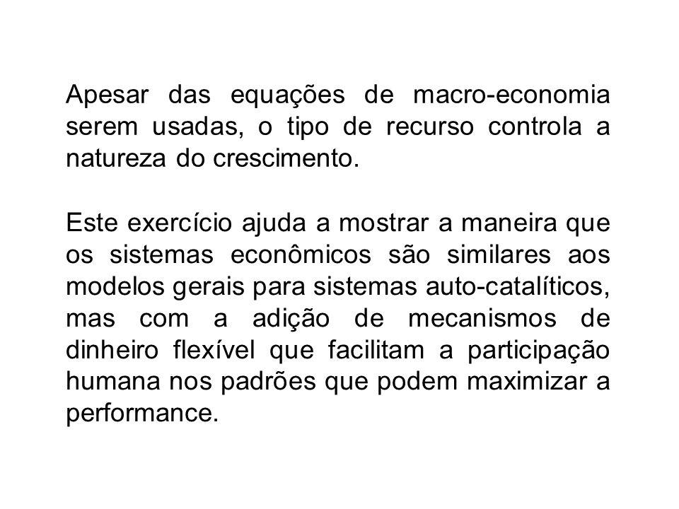 Apesar das equações de macro-economia serem usadas, o tipo de recurso controla a natureza do crescimento. Este exercício ajuda a mostrar a maneira que