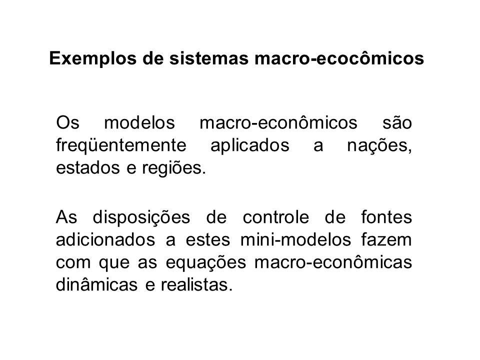 Exemplos de sistemas macro-ecocômicos Os modelos macro-econômicos são freqüentemente aplicados a nações, estados e regiões. As disposições de controle