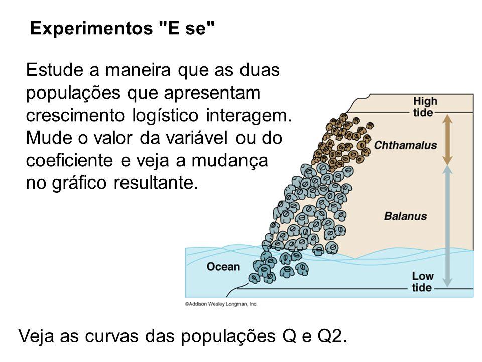Experimentos E se Veja as curvas das populações Q e Q2.