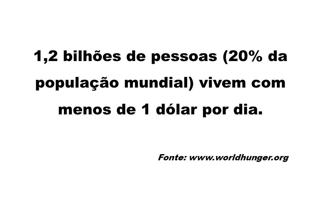 1,2 bilhões de pessoas (20% da população mundial) vivem com menos de 1 dólar por dia. Fonte: www.worldhunger.org