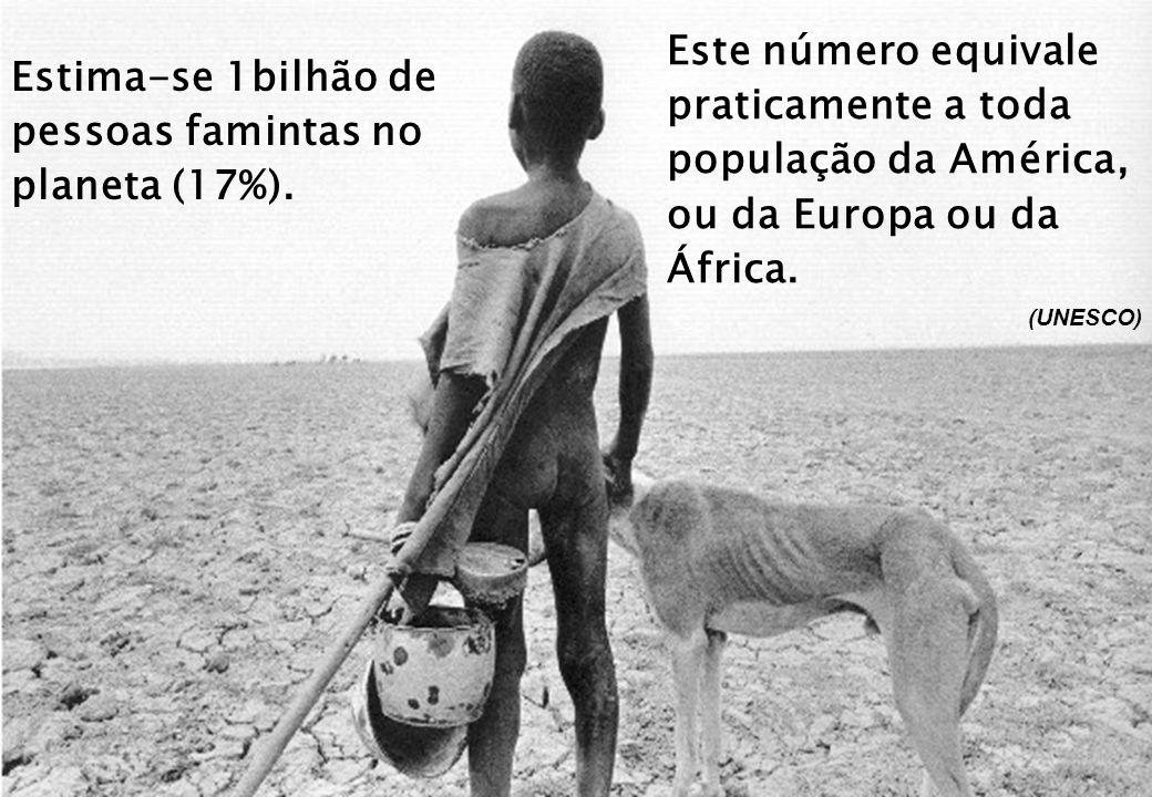 Este número equivale praticamente a toda população da América, ou da Europa ou da África. (UNESCO) Estima-se 1bilhão de pessoas famintas no planeta (1