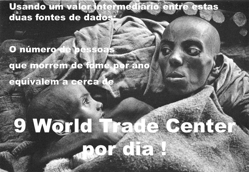 Usando um valor intermediário entre estas duas fontes de dados: O número de pessoas que morrem de fome por ano equivalem a cerca de 9 World Trade Cent