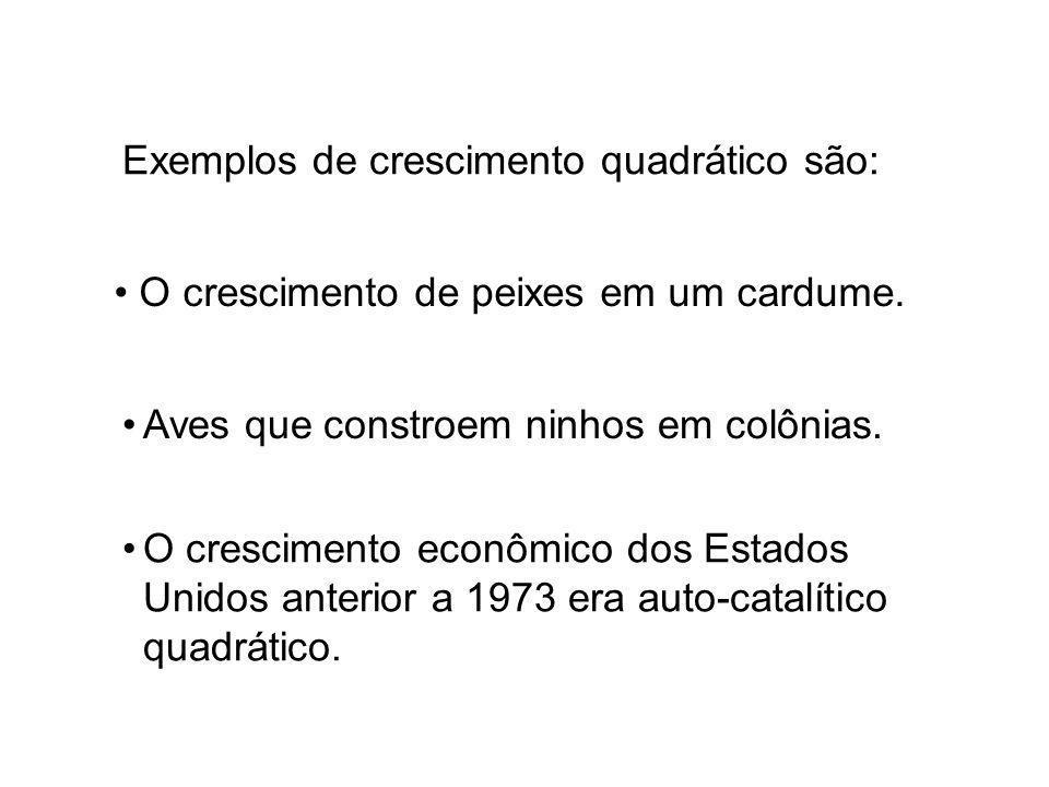 Exemplos de crescimento quadrático são: O crescimento econômico dos Estados Unidos anterior a 1973 era auto-catalítico quadrático.