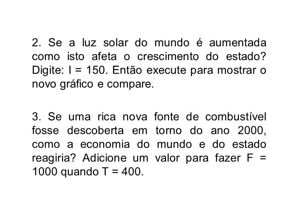2. Se a luz solar do mundo é aumentada como isto afeta o crescimento do estado.