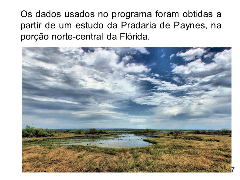 7 Os dados usados no programa foram obtidas a partir de um estudo da Pradaria de Paynes, na porção norte-central da Flórida.
