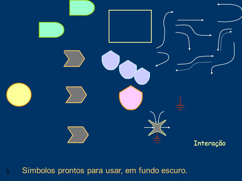 5 Interação Símbolos prontos para usar, em fundo escuro.