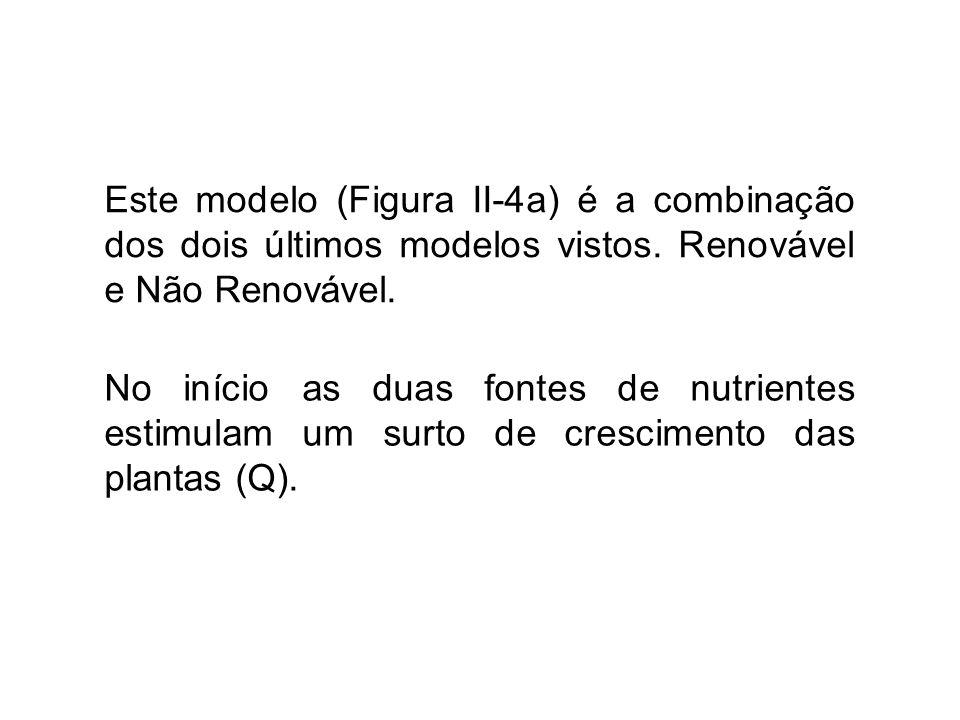 Este modelo (Figura II-4a) é a combinação dos dois últimos modelos vistos. Renovável e Não Renovável. No início as duas fontes de nutrientes estimulam