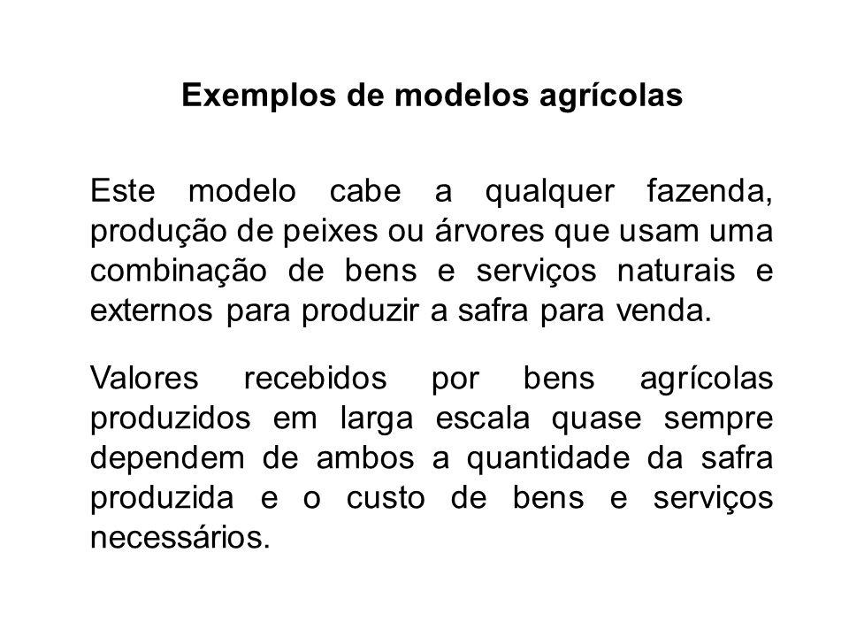 Exemplos de modelos agrícolas Este modelo cabe a qualquer fazenda, produção de peixes ou árvores que usam uma combinação de bens e serviços naturais e externos para produzir a safra para venda.