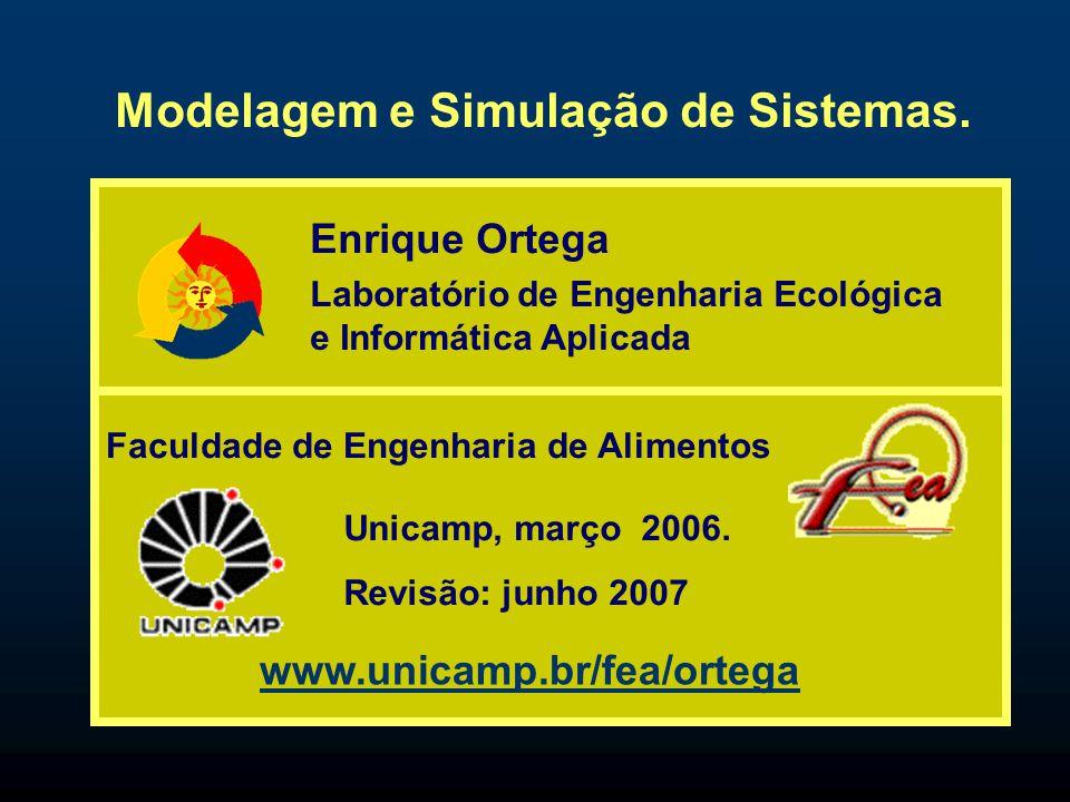 Modelagem e Simulação de Sistemas. Enrique Ortega Unicamp, março 2006. Revisão: junho 2007 www.unicamp.br/fea/ortega Faculdade de Engenharia de Alimen