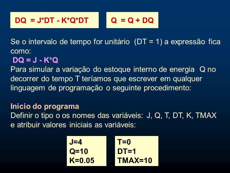 Se o intervalo de tempo for unitário (DT = 1) a expressão fica como: DQ = J - K*Q Para simular a variação do estoque interno de energia Q no decorrer