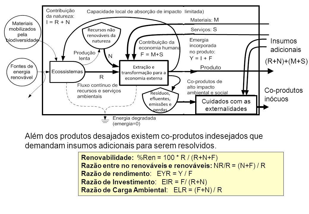 Além dos produtos desajados existem co-produtos indesejados que demandam insumos adicionais para serem resolvidos. (R+N)+(M+S) Tratamento de efluentes