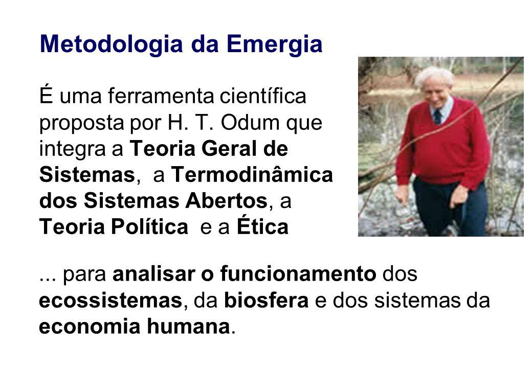 Metodologia da Emergia É uma ferramenta científica proposta por H. T. Odum que integra a Teoria Geral de Sistemas, a Termodinâmica dos Sistemas Aberto