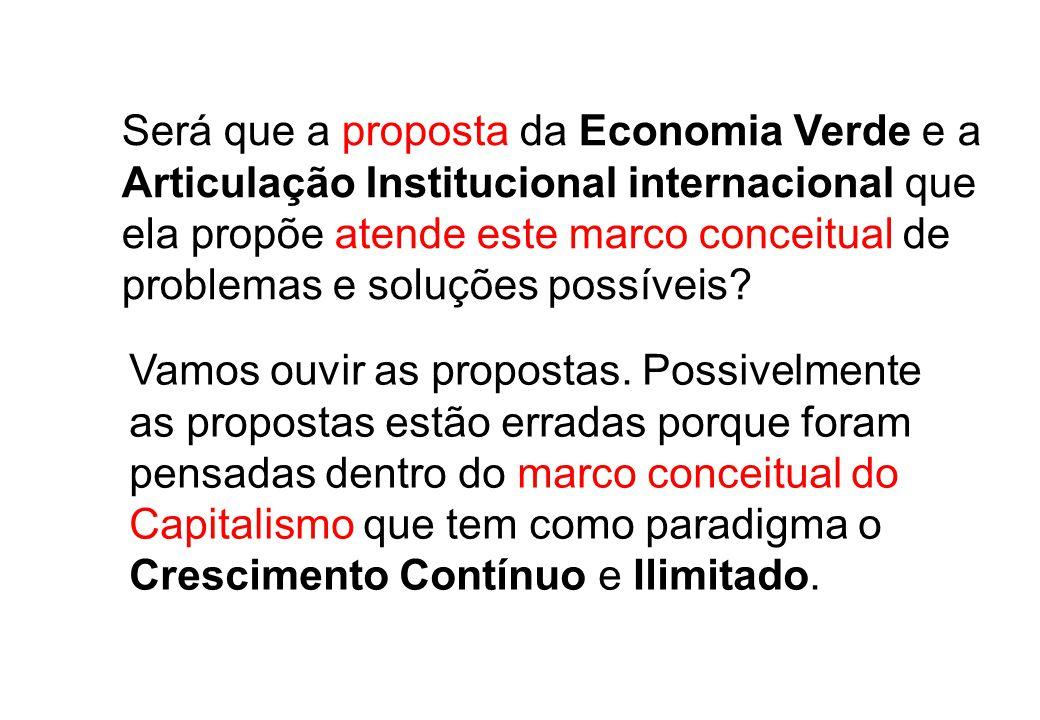 Será que a proposta da Economia Verde e a Articulação Institucional internacional que ela propõe atende este marco conceitual de problemas e soluções