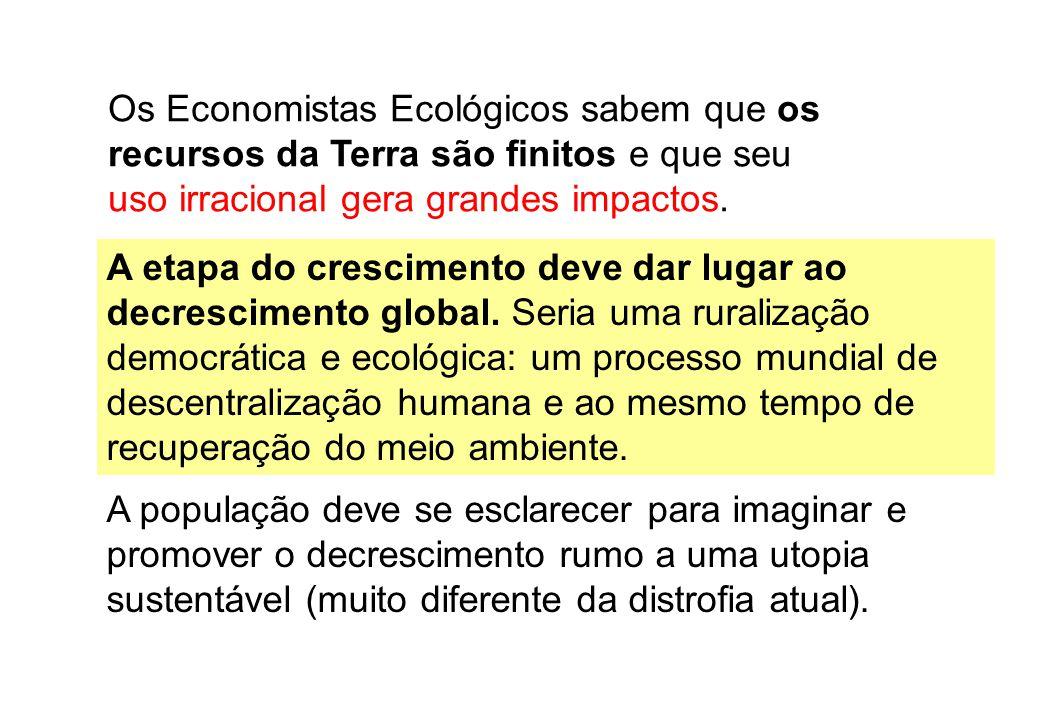 Os Economistas Ecológicos sabem que os recursos da Terra são finitos e que seu uso irracional gera grandes impactos. A população deve se esclarecer pa