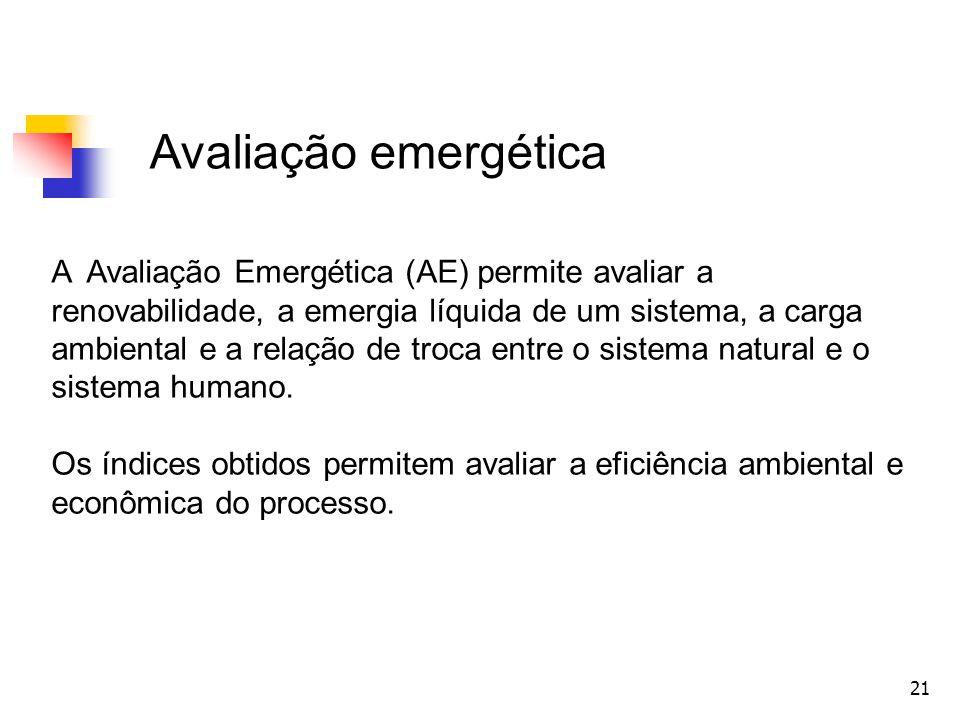 21 Avaliação emergética A Avaliação Emergética (AE) permite avaliar a renovabilidade, a emergia líquida de um sistema, a carga ambiental e a relação d