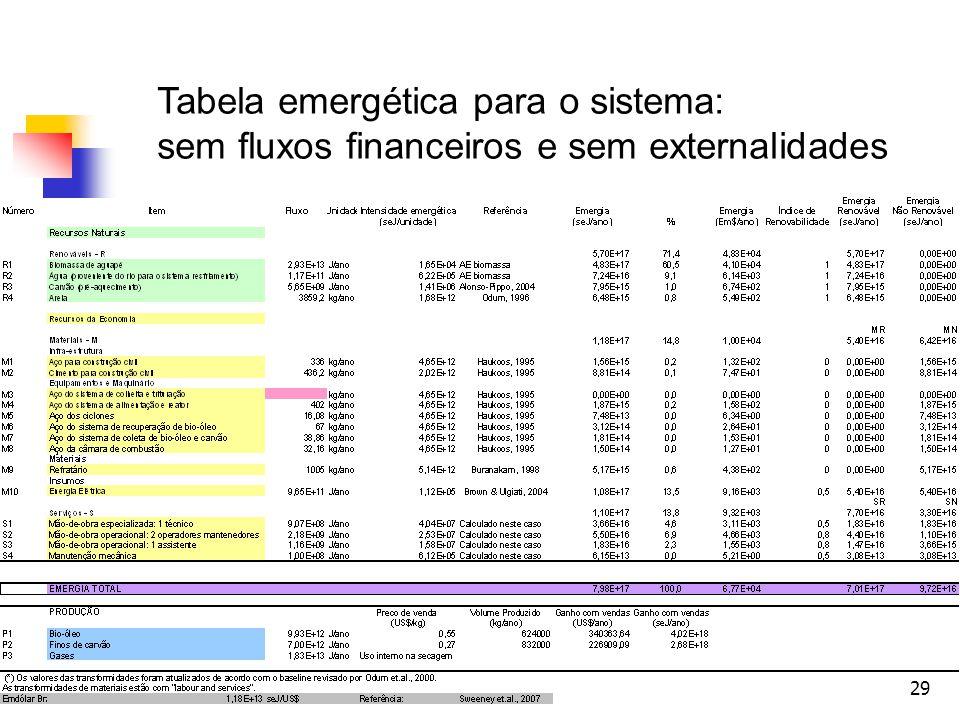 29 Tabela emergética para o sistema: sem fluxos financeiros e sem externalidades