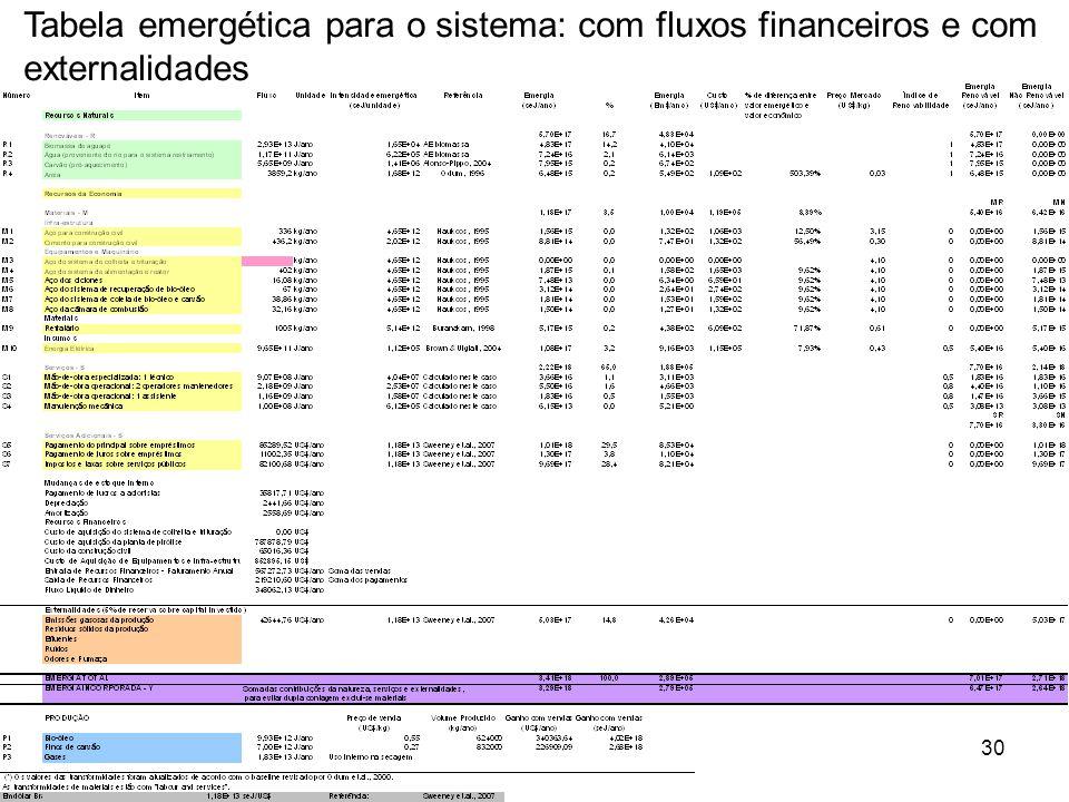 30 Tabela emergética para o sistema: com fluxos financeiros e com externalidades