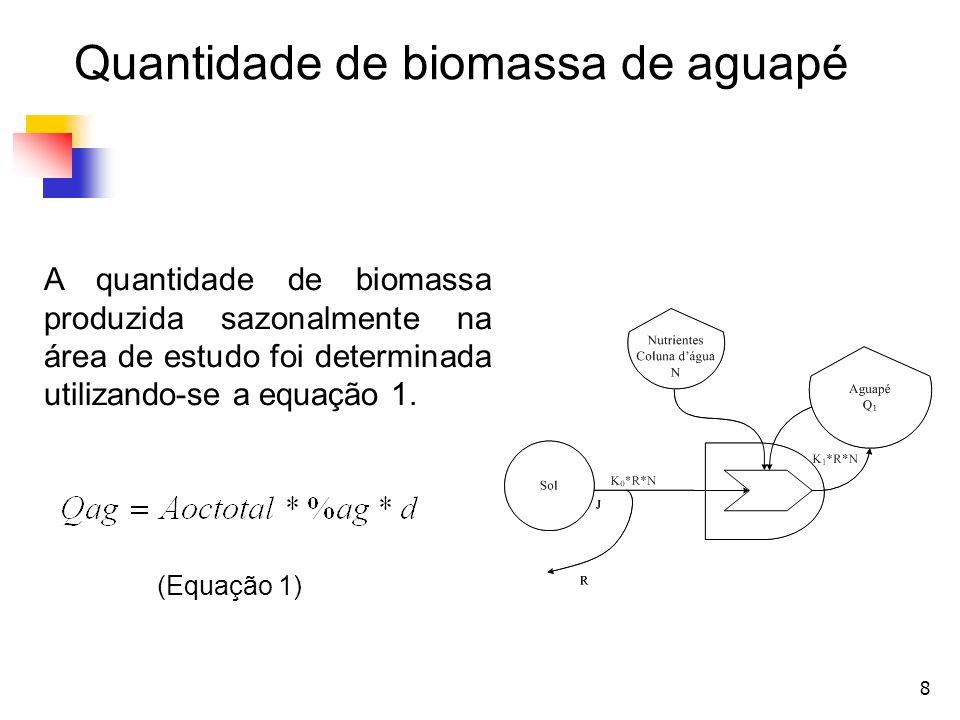 9 Os valores considerados para o cálculo da quantidade de biomassa de aguapé na área delimitada foram: Aoctotal, área ocupada por macrófitas em unidade de área = valores em km² (Souza et al., 2010) %ag, percentual de aguapé contido no total de vegetação aquática = 70% (Castro et al., 2010) d, a densidade mássica do aguapé em unidade de massa seca por unidade de área = 2,1 kg MS.m -2 (Vianna et al., 2010) Quantidade de biomassa de aguapé