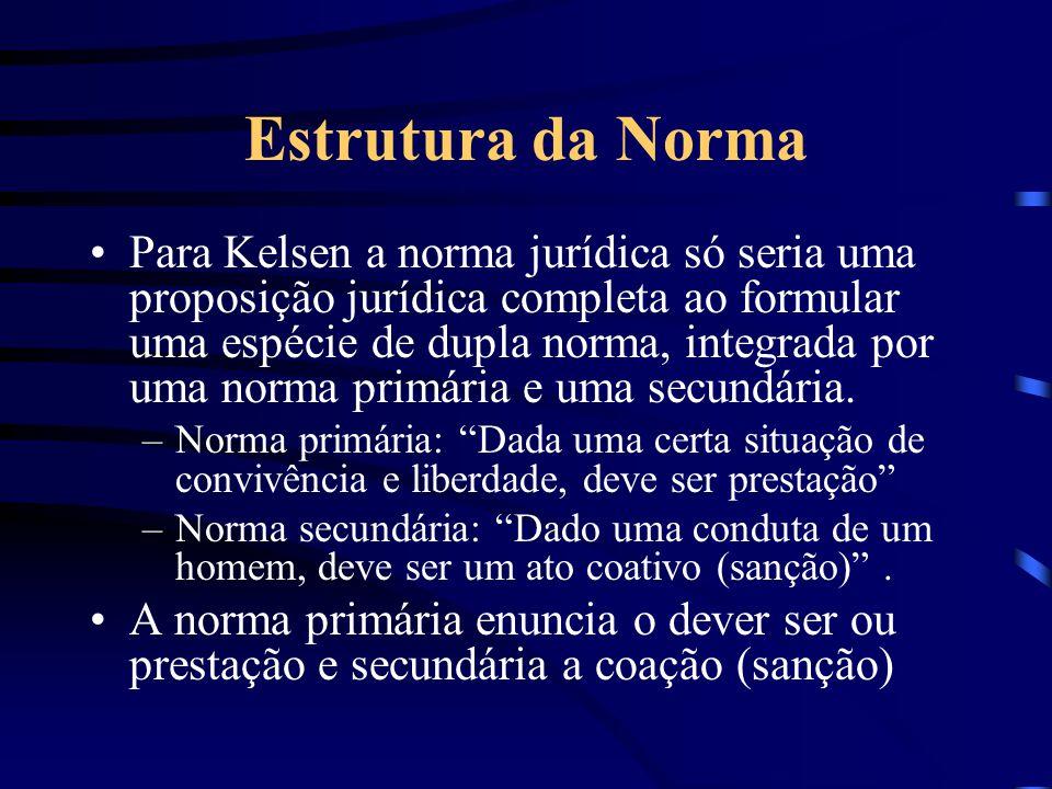 Estrutura da Norma Jurídica Para alguns autores como Pontes de Miranda, Alfredo Becker, Larenz, Von Tuhr a estrutura da norma jurídica é uma proposiçã