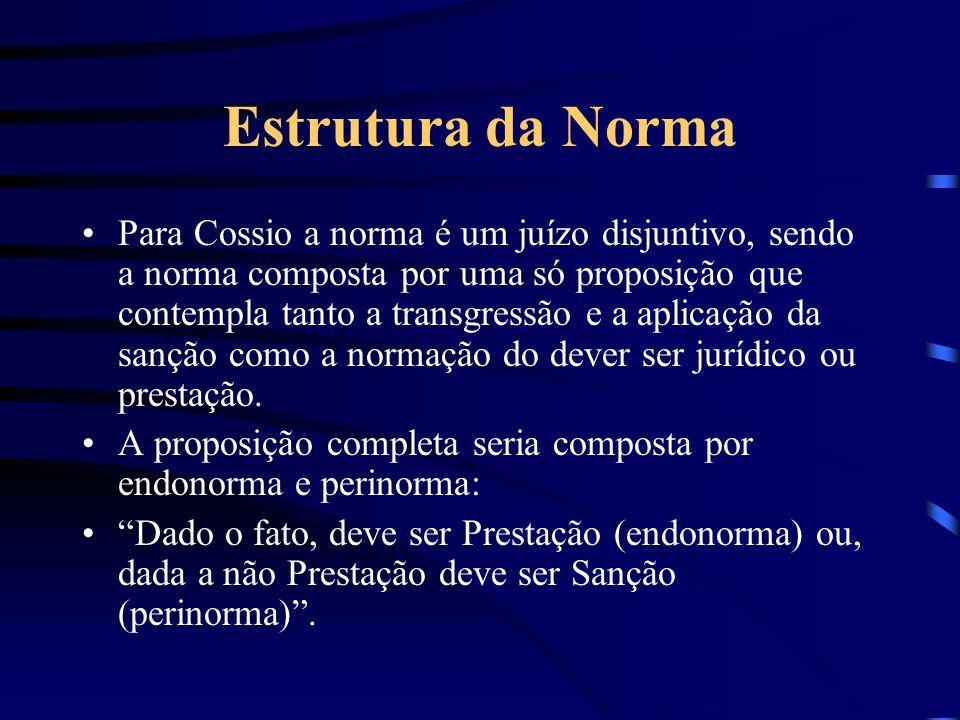 Estrutura da Norma Para Kelsen a norma jurídica só seria uma proposição jurídica completa ao formular uma espécie de dupla norma, integrada por uma no