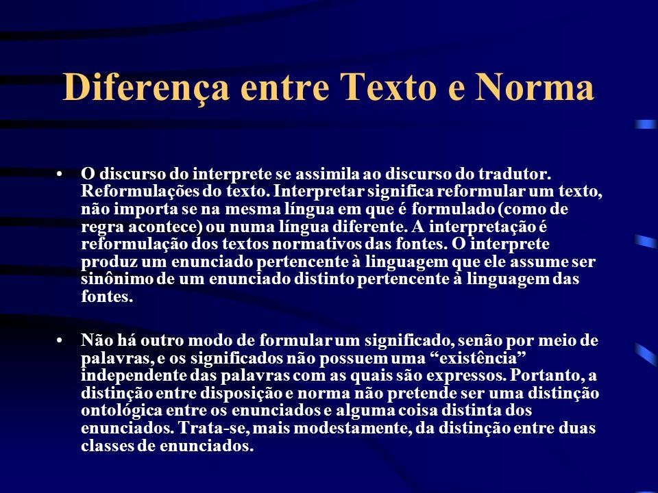Diferença entre Texto e Norma Interpretação jurídica: a atribuição de sentido (ou significado) a um texto normativo. Texto normativo: qualquer documen