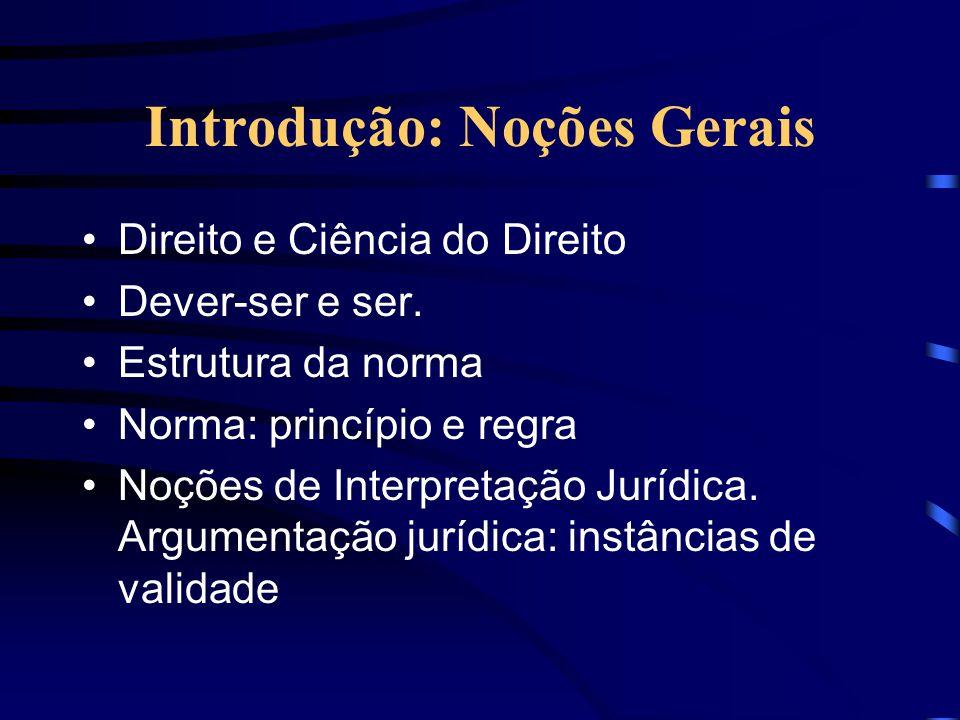 Introdução: Noções Gerais Direito e Ciência do Direito Dever-ser e ser.