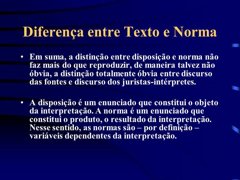 Diferença entre Texto e Norma O discurso do interprete se assimila ao discurso do tradutor. Reformulações do texto. Interpretar significa reformular u