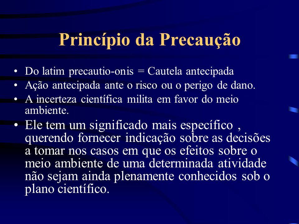 Princípios do Direito Ambiental Princípio da precaução Princípio da prevenção Princípio da máxima proteção Princípio do poluidor-pagador Princípio do