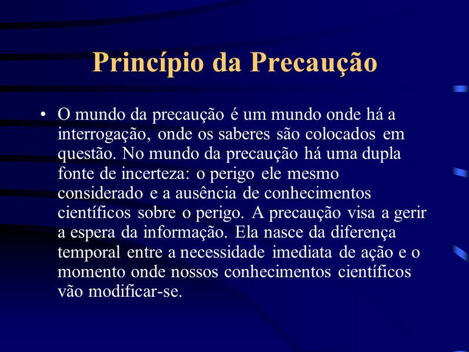 Princípio da Precaução Do latim precautio-onis = Cautela antecipada Ação antecipada ante o risco ou o perigo de dano. A incerteza científica milita em