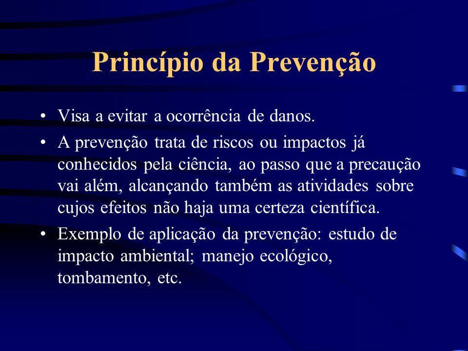 Princípio da Precaução Princípio 15 da Declaração do Rio de Janeiro: Para proteger o meio ambiente medidas de precaução devem ser largamente aplicadas
