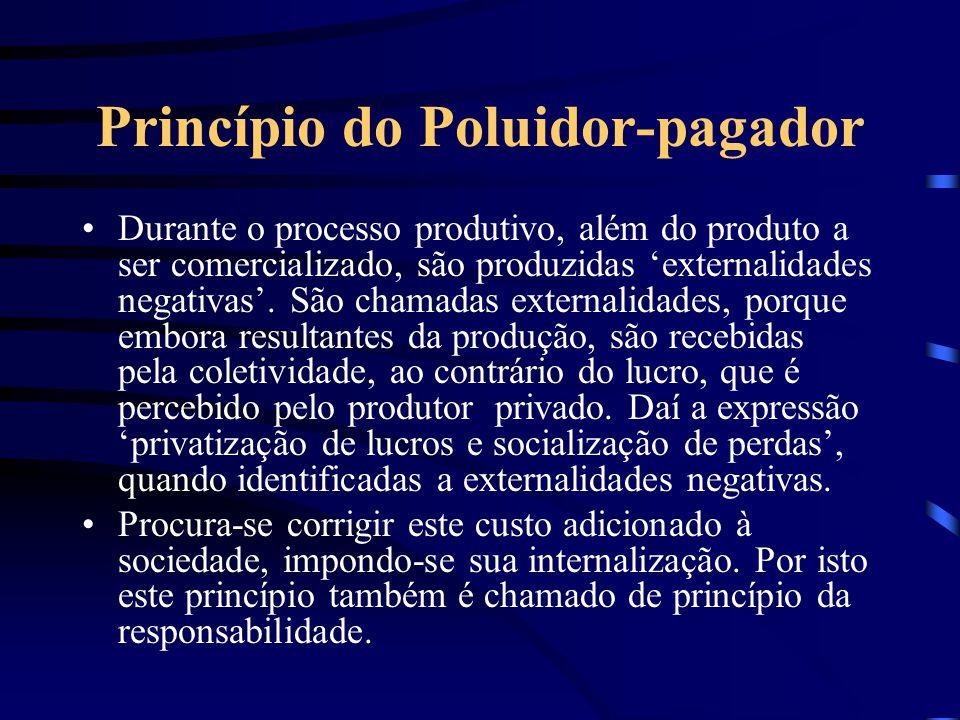 Princípio do Poluidor-pagador Não se trata de pagar para poluir. Os custos sociais externos que acompanham o processo produtivo devem ser internalizad