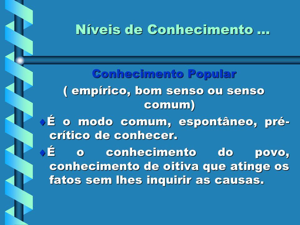 Níveis de Conhecimento... Conhecimento Popular ( empírico, bom senso ou senso comum)  É o modo comum, espontâneo, pré- crítico de conhecer.  É o con