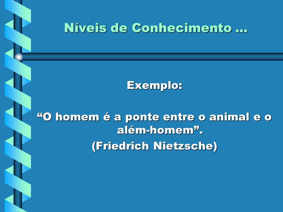 """Níveis de Conhecimento... Exemplo: """"O homem é a ponte entre o animal e o além-homem"""". (Friedrich Nietzsche)"""